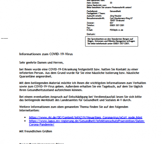 Infopaket zum Covid 19 Virus