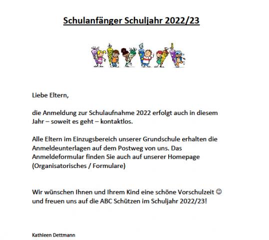 Anmeldung Einschulung 2022